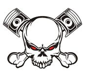 Crâne et piston illustration stock