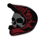 Crâne fâché dans le casque de vélo Images libres de droits