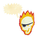 crâne flamboyant de pirate de bande dessinée avec la bulle de la parole Photographie stock libre de droits