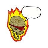 crâne flamboyant de pirate de bande dessinée avec la bulle de la parole Images stock