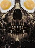 Crâne foncé avec Fried Egg Eyes Photos stock