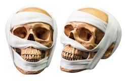 Crâne humain avec le bandage Photographie stock libre de droits