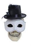 Crâne humain avec un chapeau Photographie stock
