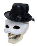 Crâne humain avec un chapeau Images libres de droits