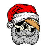 Crâne humain dans le croquis de chapeau de Santa illustration stock
