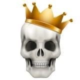 Crâne humain de vecteur avec la couronne d'or de roi illustration stock