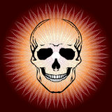 Crâne humain et le Sun dans le style d'art abstrait Photos stock