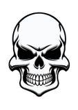 Crâne humain mystérieux noir et blanc Images libres de droits
