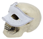 Crâne humain portant un masque Images libres de droits