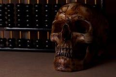 Crâne la vieille en bois toujours vie Photo stock