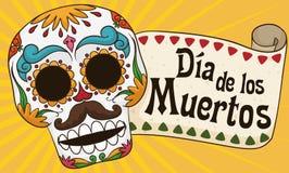 Crâne masculin coloré pour le Mexicain et le x22 ; Dia de los Muertos& x22 ; Célébration, illustration de vecteur Photos libres de droits