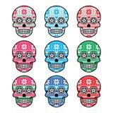 Crâne mexicain de sucre avec le modèle de nordic d'hiver Images stock