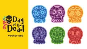 Crâne mexicain de sucre Ensemble de Dia de los Muertos Illustration de vecteur Photos libres de droits