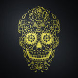 Crâne mexicain de sucre sur le fond noir Images stock