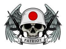 Crâne militaire ou crâne de patriote avec le casque de drapeau du JAPON Photos stock