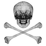 Crâne noir de fil Images stock