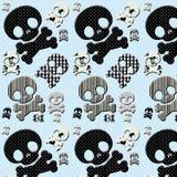 crâne noir et blanc et os croisés Photo stock