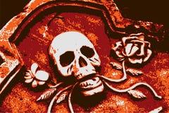 Crâne orange grunge de Veille de la toussaint Photographie stock libre de droits