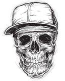 Crâne peu précis avec le chapeau et le Bandana illustration libre de droits