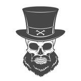 Crâne proscrit avec le portrait de barbe et de haut chapeau Photographie stock