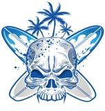Crâne sur la planche de surf Image libre de droits