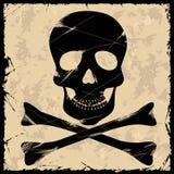 Crâne sur un rétro fond Photos stock