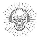 Crâne tiré par la main d'illustration de vecteur avec des écouteurs et des rayons divergents Crâne de bande dessinée Photographie stock