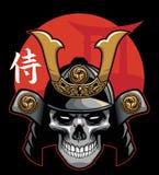 Crâne utilisant l'armure samouraï Images stock