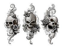 Crânes avec les modèles floraux illustration stock