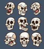 Crânes de bande dessinée illustration stock