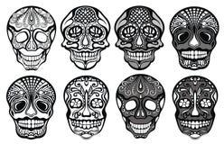Crânes de sucre réglés illustration de vecteur