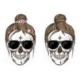 Crânes du ` s de fille Coiffures à la mode illustration de vecteur
