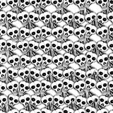 Crânes et os Modèle sans couture mignon tiré par la main de vecteur Photos stock