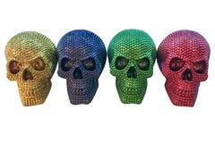 Crânes humains colorés d'isolement sur le fond blanc Images libres de droits