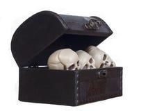 Crânes humains dans un coffre en bois Image stock
