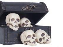 Crânes humains dans un coffre en bois Photographie stock