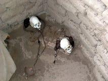 Crânes humains préservés dans une tombe au cimetière de Chauchilla près de Nazca, Pérou Photo libre de droits