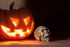 Crânio, abóbora no fundo claro escuro da madeira do borrão imagem de stock royalty free