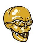 Crânio amarelo dourado com óculos de sol Imagem de Stock Royalty Free