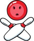 Crânio & crossbones do bowling ilustração stock