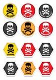 Crânio & Crossbones que advertem etiquetas Fotos de Stock