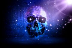Crânio artístico abstrato em um fundo das estrelas foto de stock