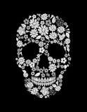 Crânio bordado vintage da flor Cópia inoperante da decoração do projeto da forma do dia de Muertos ilustração royalty free