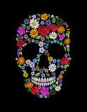 Crânio bordado vintage da flor Projeto inoperante da forma do dia de Muertos ilustração royalty free