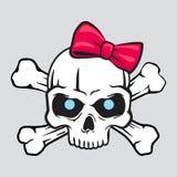 Crânio branco com ilustração do t-shirt da curva Imagem de Stock Royalty Free