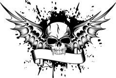 Crânio com asas 2 ilustração royalty free