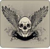 Crânio com asas e rosas, mão-desenho. Vetor mim ilustração royalty free