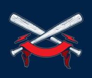 Crânio com bastões de beisebol Fotografia de Stock Royalty Free