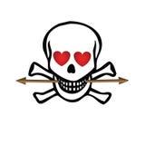 Crânio com corações e seta Fotos de Stock Royalty Free