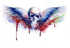 Crânio com emblema das asas ilustração do vetor